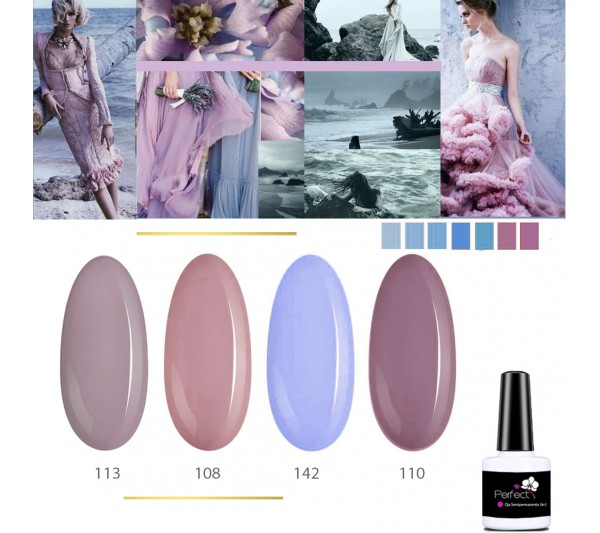 Set Inspiration 4 Oje Semipermanente unghii 3in1 One Step, 6ml cu Pensula, Lavander Secret TotulPerfect